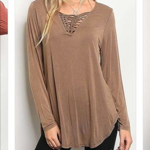 Tops - Criss cross mocha long sleeve
